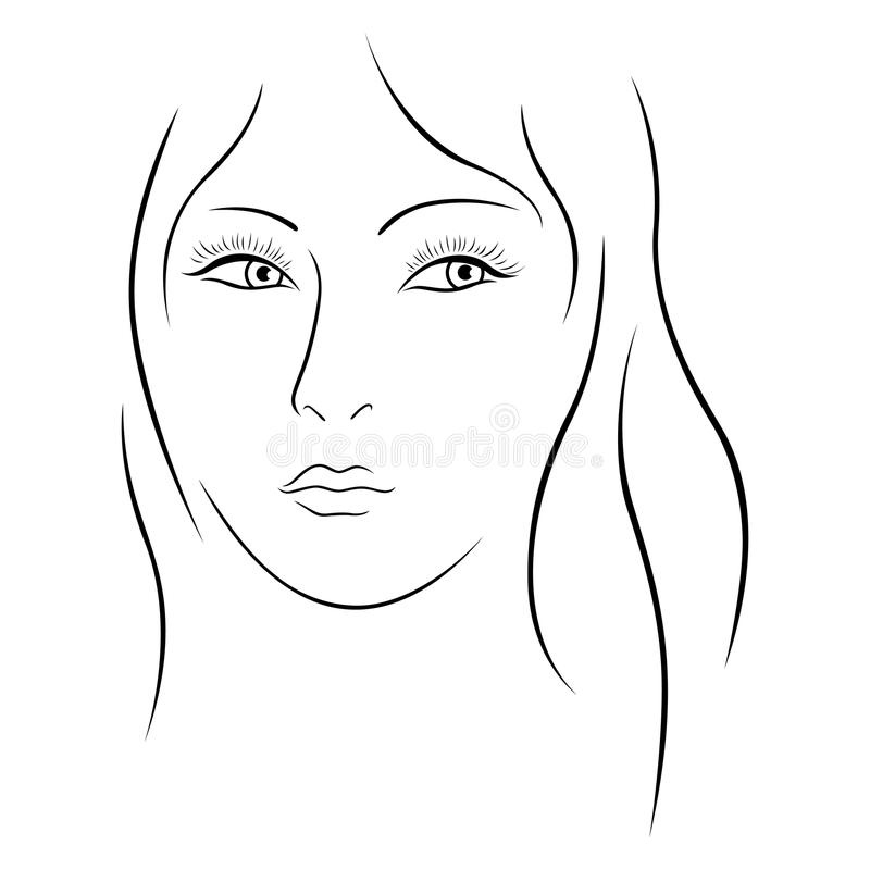 Portrait simple de belle dame illustration stock