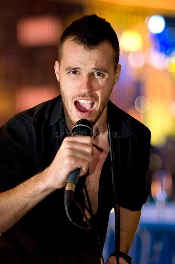 Portrait of singer man stock photo