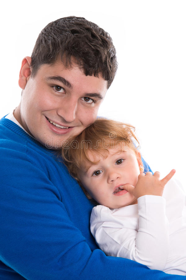 Portrait of a single parent father with his little child - isolated - dad and child royalty free stock images