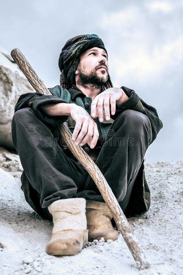 Portrait of a Sitting Man In Turban stock photos