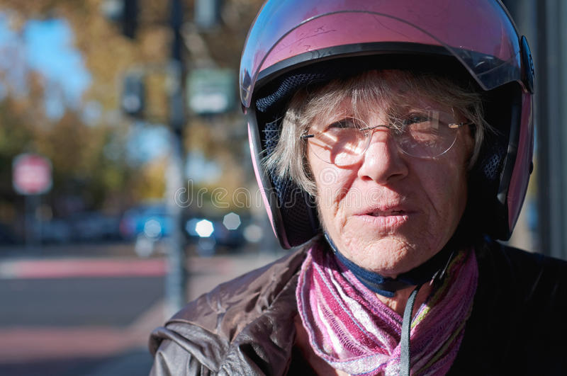 Portrait of a sixty year old biker stock photography