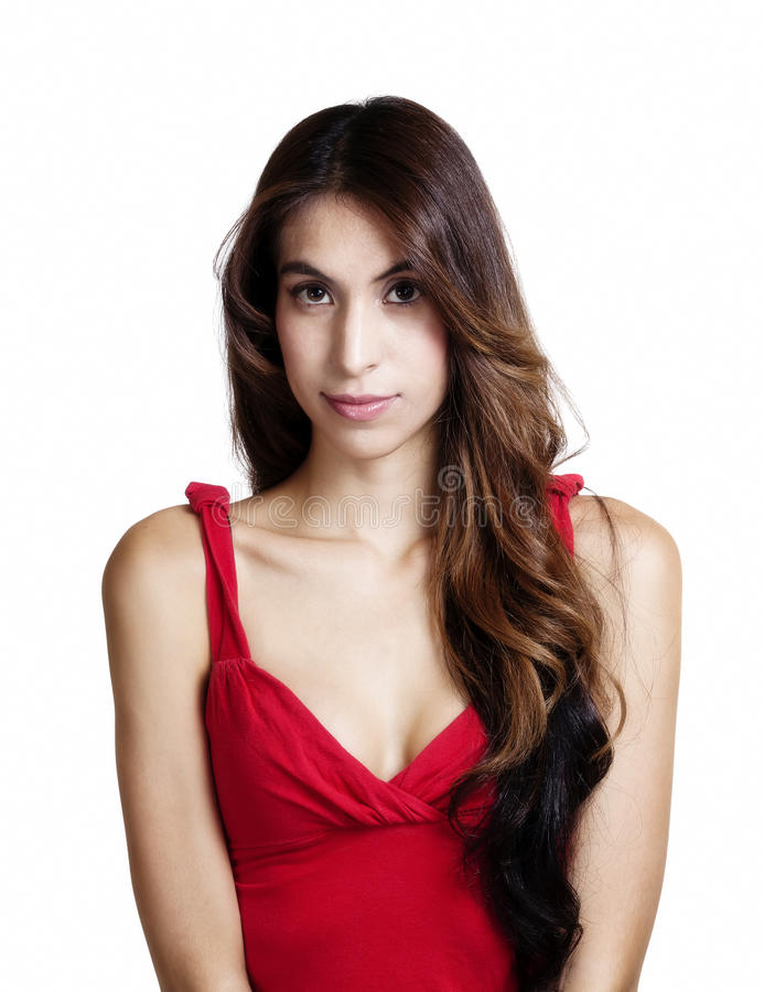 Portrait Skinny Latina Woman Red Top Cleavage. Portrait Attractive Hispanic Woman Red Top Cleavage royalty free stock photography
