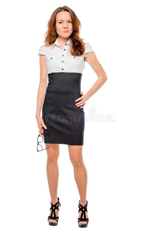 Portrait of slender beautiful businesswoman in full length stock photos