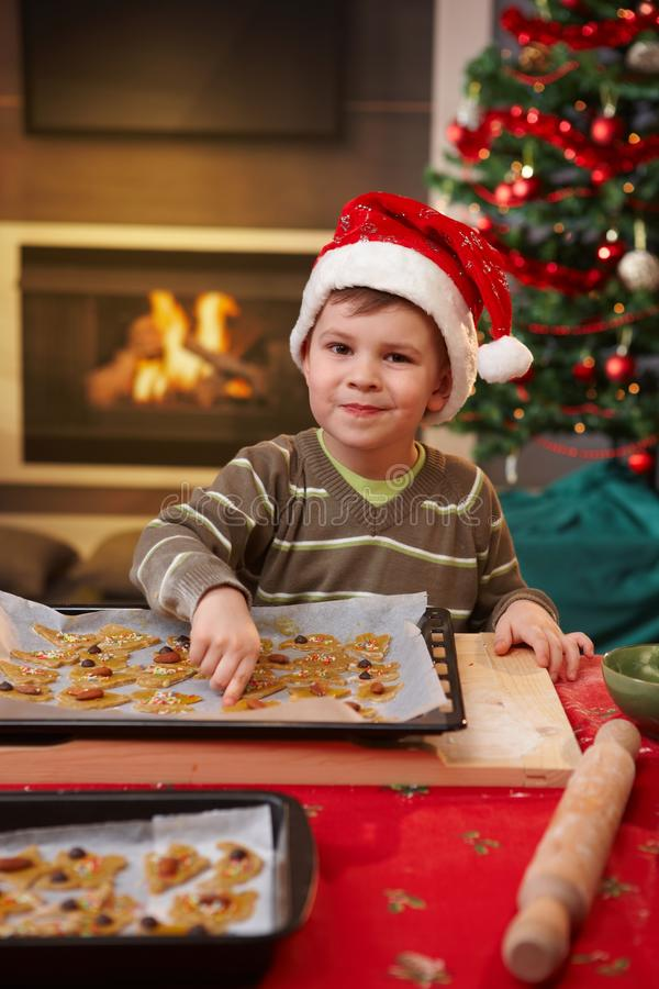Portrait of small child with christmas cake stock image