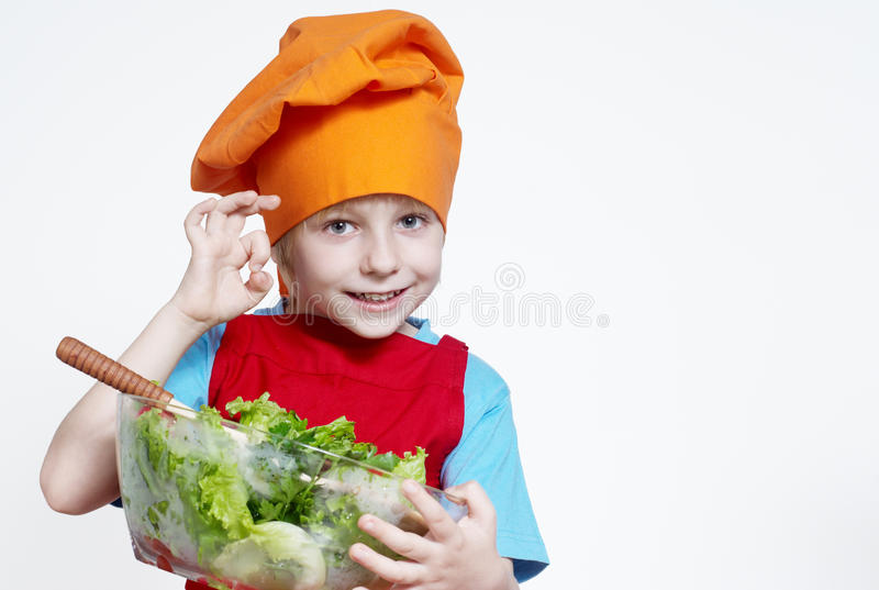 Portrait of the small cook. On a light background stock image