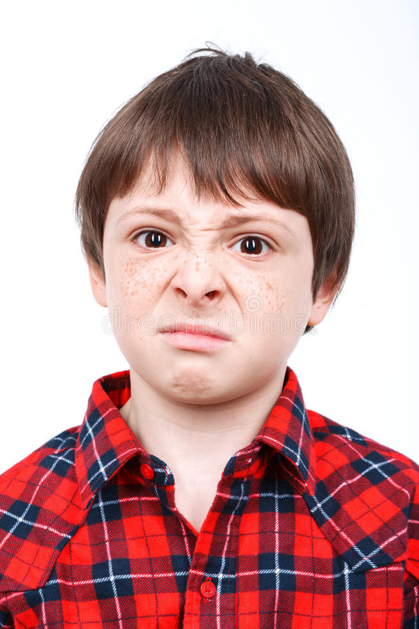 Portrait Of A Small Emotional Boy Stock Image - Image of ...