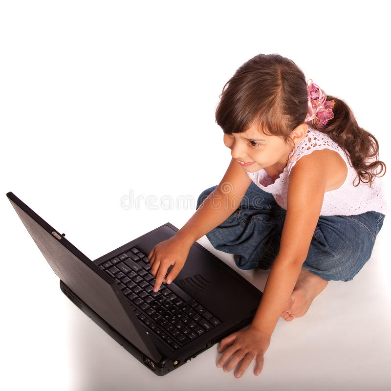 Download Portrait of small girl stock image. Image of keyboard - 10455503