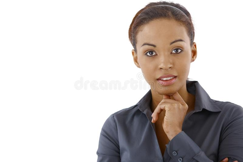 Portrait of smart ethnic woman. Looking confidently at camera stock photo