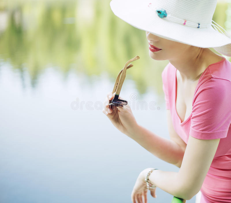 Portrait of the smart resting woman stock image