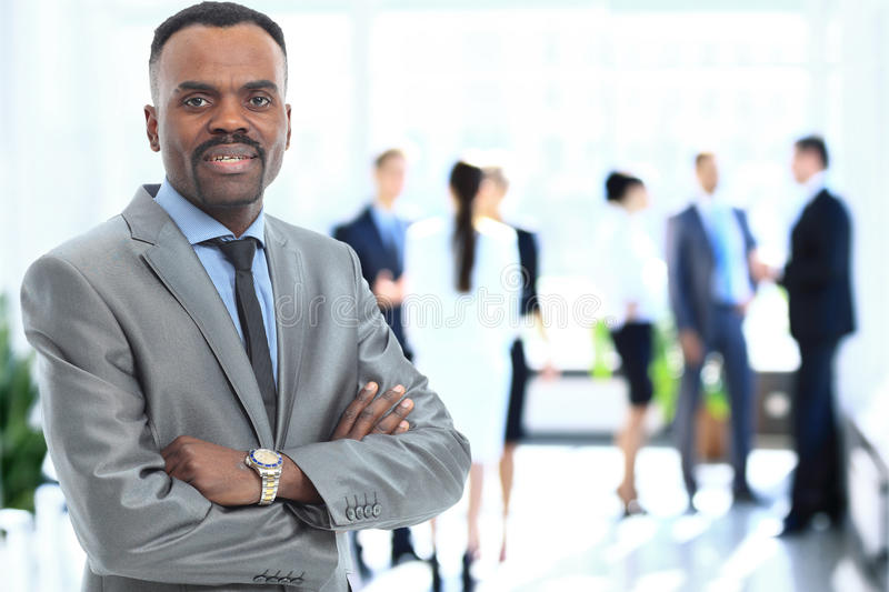 Portrait of smiling African American business man stock images