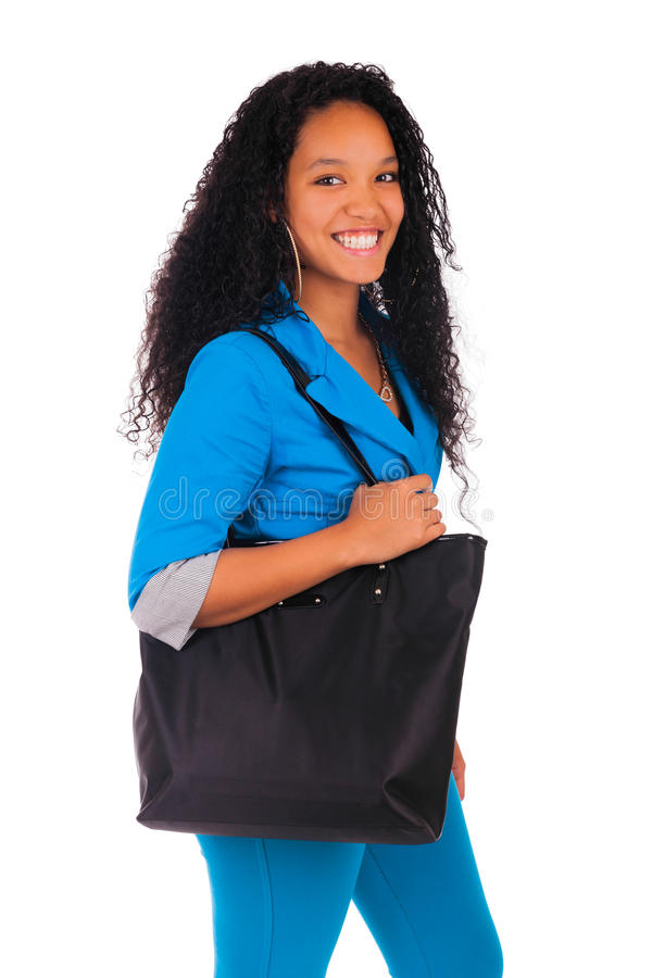 Portrait of smiling African American female student royalty free stock photo