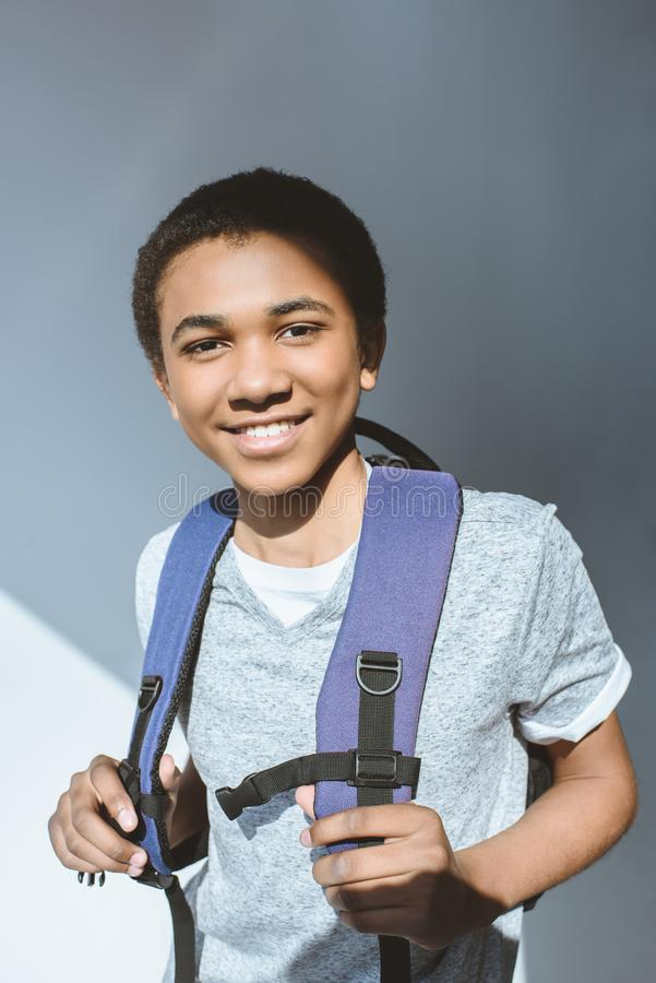portrait of smiling african american teenage boy royalty free stock photo