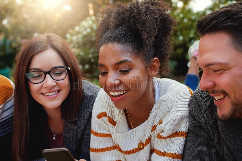 Portrait of a smiling african american young woman with her friends looking at mobile phone in the park - warm sun flare royalty free stock image