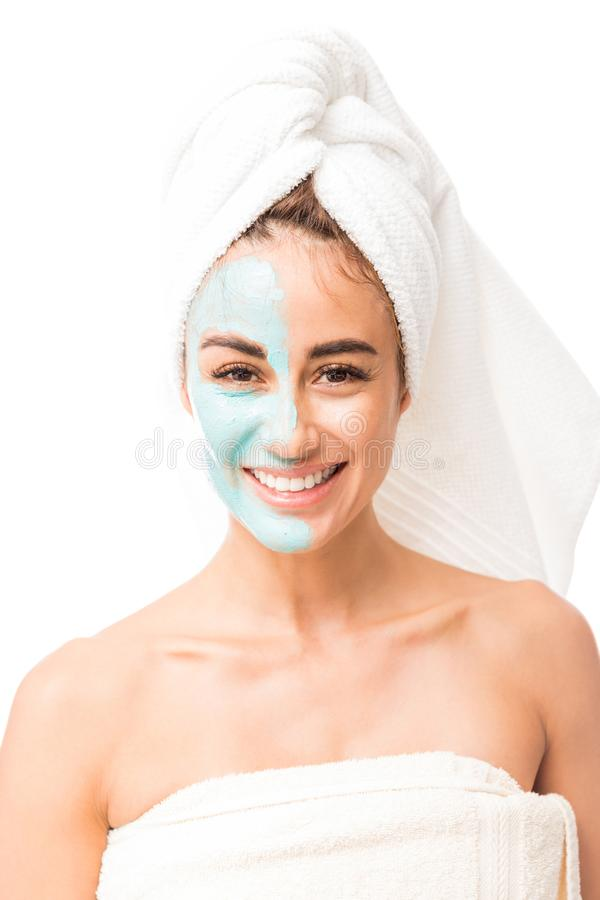 Pretty Mid Adult Woman Taking Care Of Her Skin royalty free stock photos