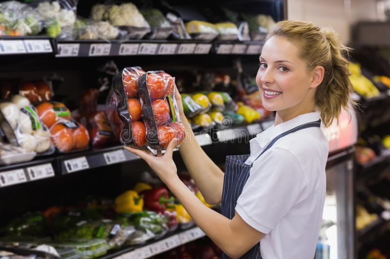 Portrait of a smiling blonde worker taking a tomatoes stock image