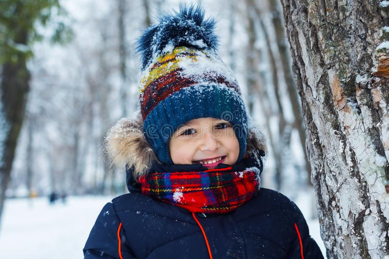 Portrait of a smiling boy on the background of a winter forest royalty free stock photography