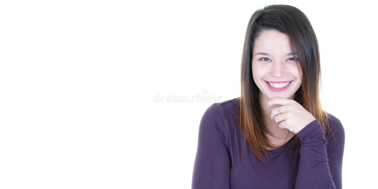 Portrait of a smiling brunette young woman in banner web template aside copy space royalty free stock image