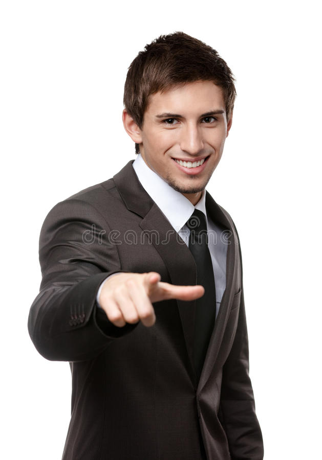 Portrait of smiling business man pointing at you
