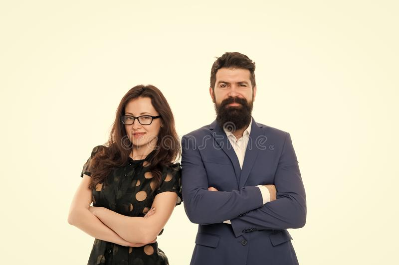 Portrait of smiling business partners. Business partner couple isolated on white. happy businesspeople. Partnership and. Collaboration. bearded men and sexy royalty free stock photos