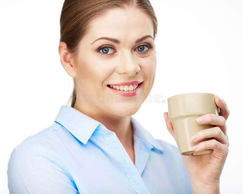 Portrait of Smiling business woman hold coffee cup . royalty free stock photos