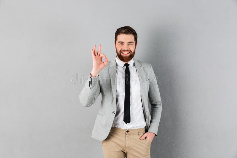 Portrait of a smiling businessman dressed in suit royalty free stock photos