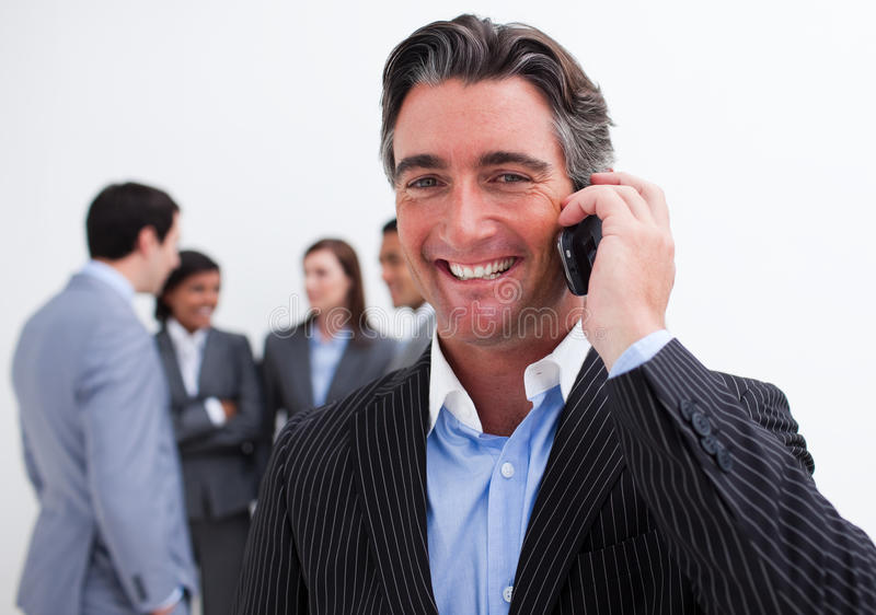 Download Portrait Of Smiling Businessman On Phone Stock Image - Image of beautiful, caucasian: 12025473