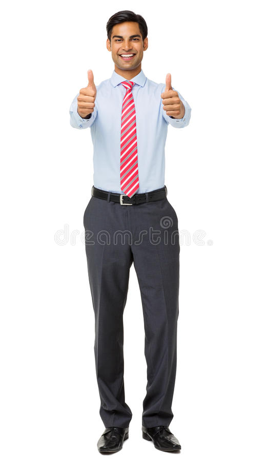 Portrait Of Smiling Businessman Showing Thumbs Up stock images