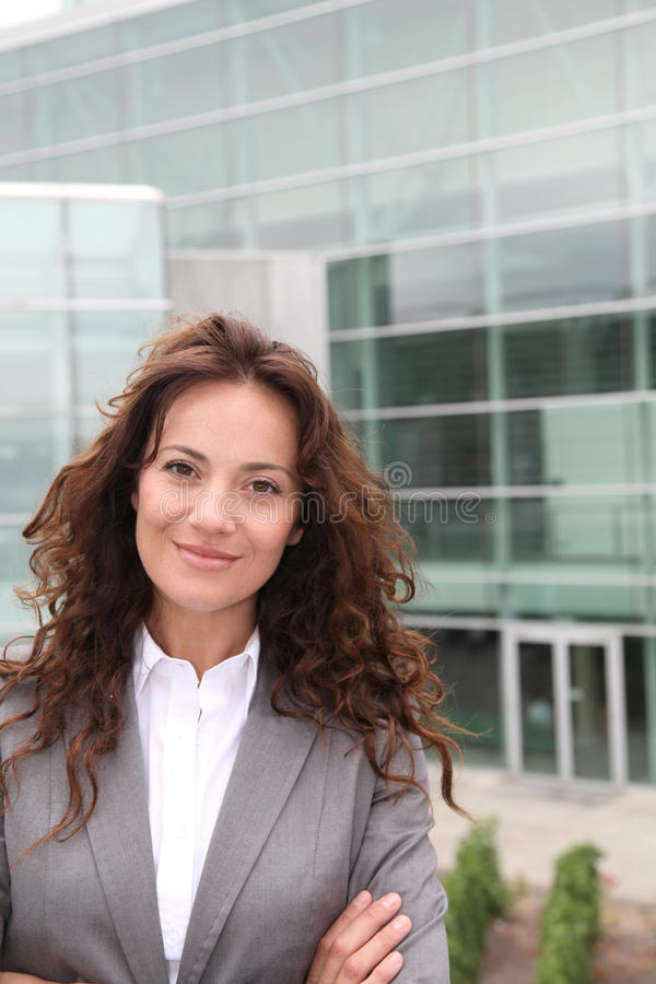 Portrait of smiling businesswoman stock photo