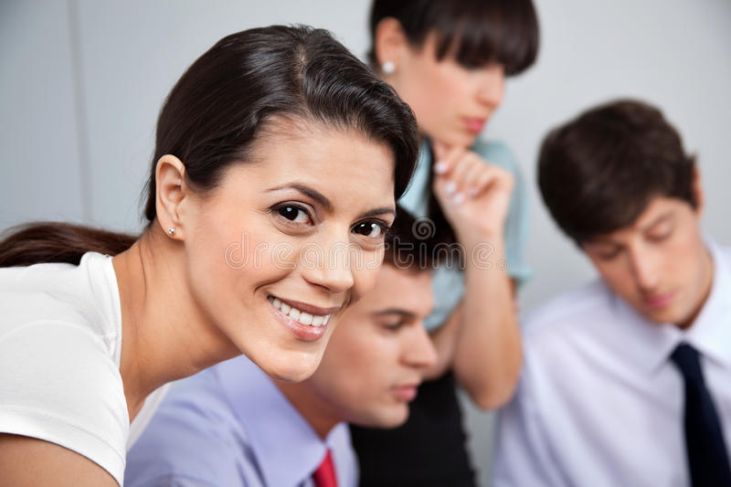 Download Portrait Of Smiling Businesswoman Stock Image - Image of cheerful, colleague: 22211227