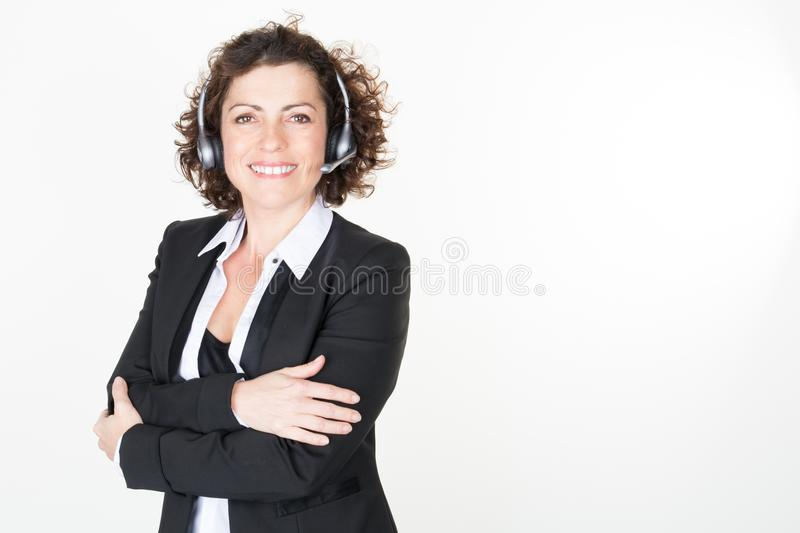 Portrait of smiling caucasian customer service and support woman royalty free stock photos