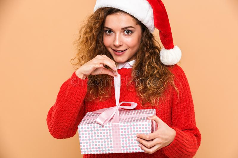 Portrait of a smiling cheery girl dressed in santa hat royalty free stock photography