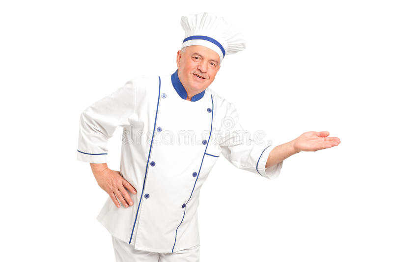 Download Portrait Of Smiling Chef Gesturing Welcome Stock Image - Image: 22651875