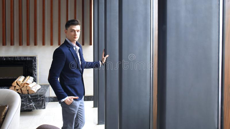 Portrait of smiling confident businessman in suit. royalty free stock photos