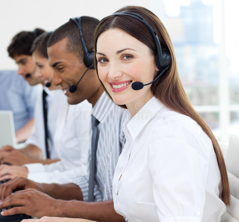 Portrait of smiling customer service agents royalty free stock image