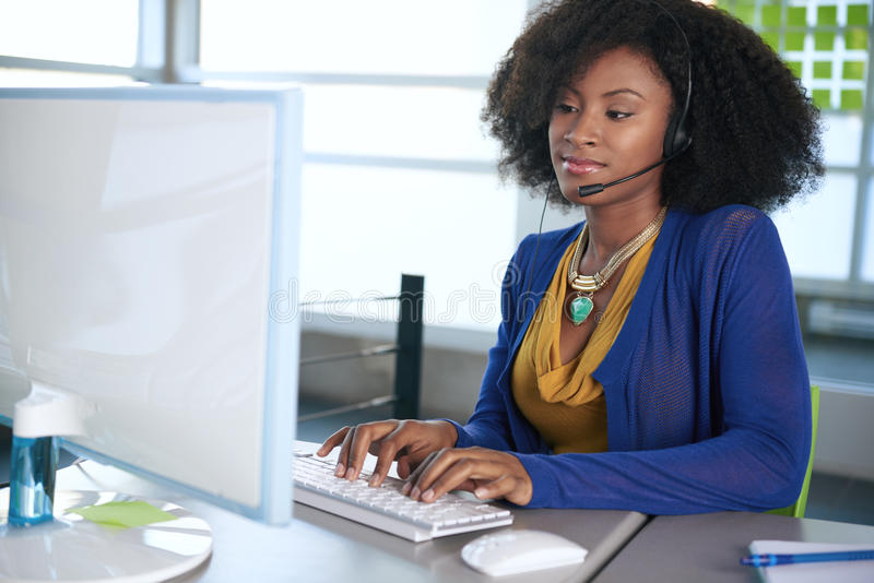 Portrait of a smiling customer service stock photography