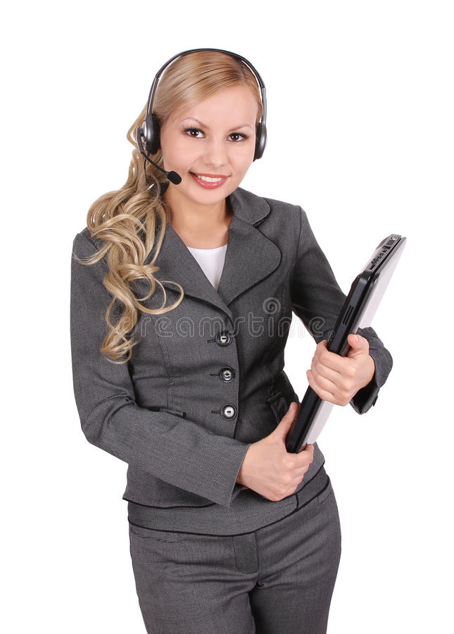 Download Portrait Of Smiling Customer Support Operator Stock Image - Image: 25170899
