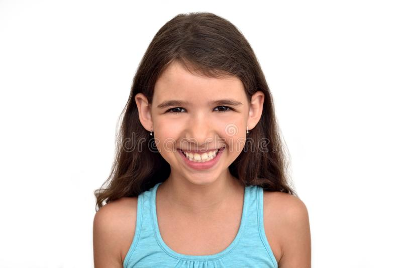 Portrait of a smiling cute young girl stock photo