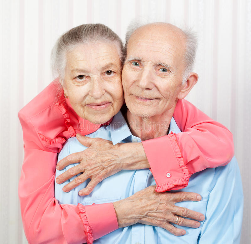 Portrait of a smiling elderly couple stock photography