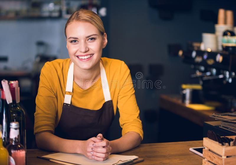 Cheerful girl having job in cafe stock photos