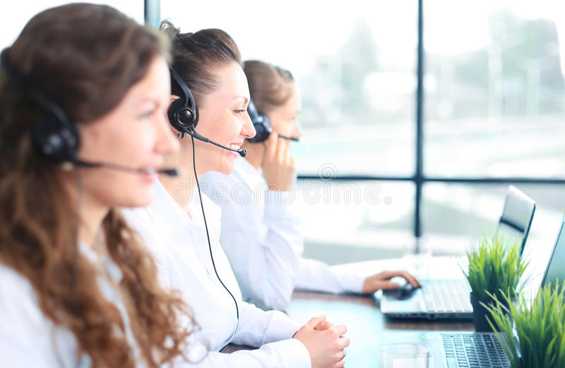 Download Portrait Of Smiling Female Customer Service Agent Stock Photo - Image of customer, helpline: 57651068
