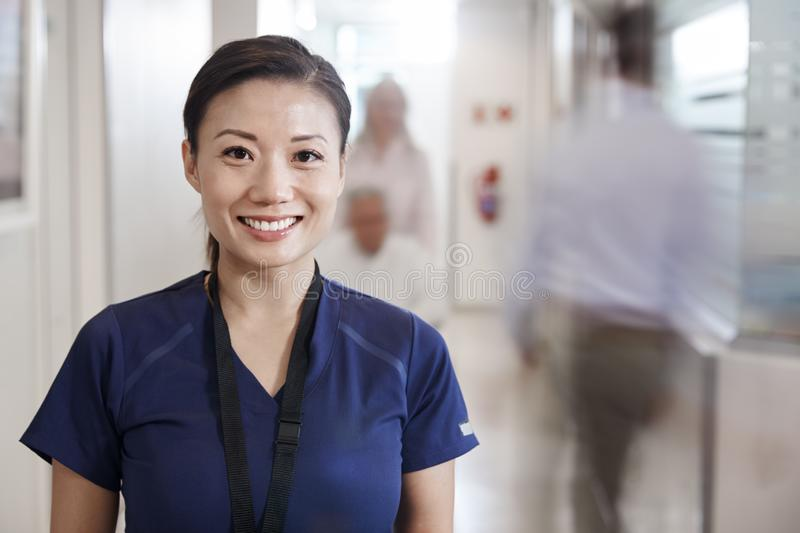 Portrait Of Smiling Female Nurse Wearing Scrubs In Busy Hospital Corridor royalty free stock photography