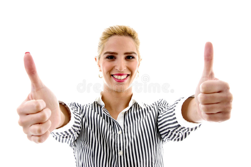 Download Portrait Of Smiling Female With Thumbs Up Stock Photo - Image: 7368626
