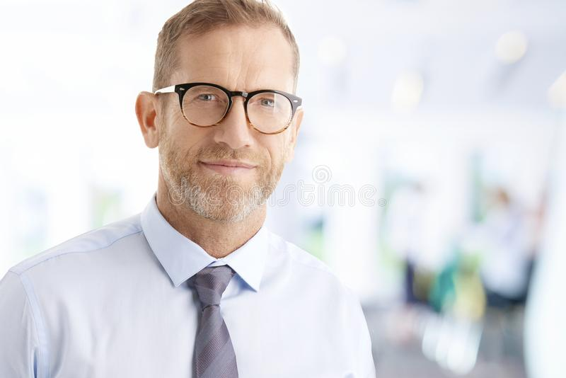 Smiling middle aged businessman portrait. Portrait of smiling financial advisor businessman standing at the office and looking at camera stock photography