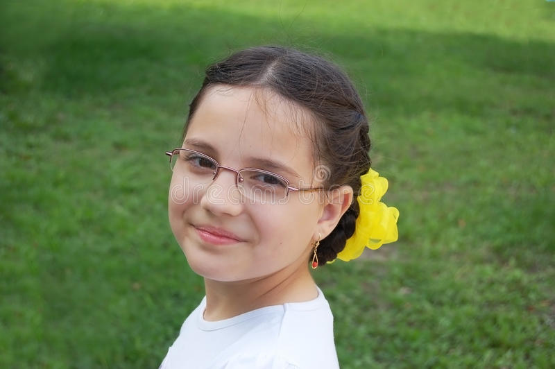 Portrait of smiling girl stock photo