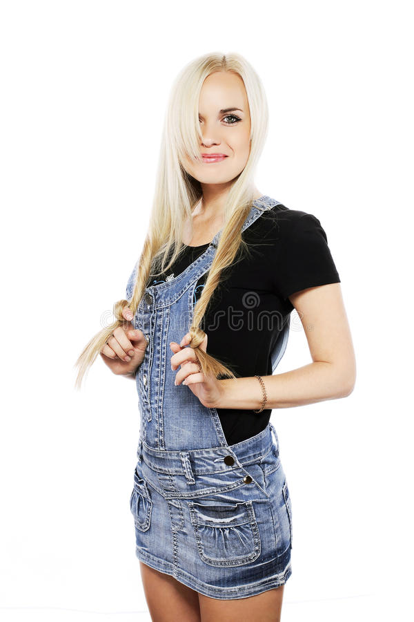 Portrait of a smiling girl in country style clothes royalty free stock image