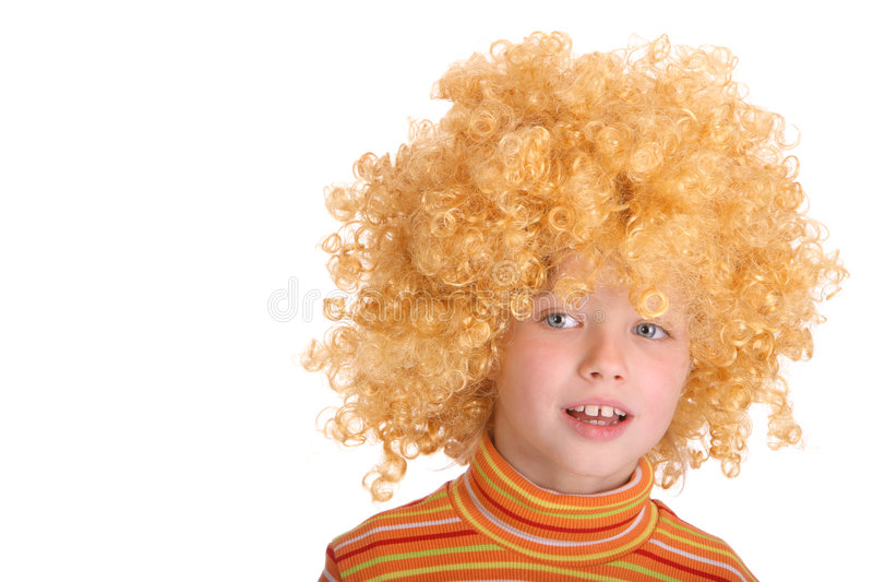 Download Portrait Of Smiling Girl In Curly Wig. Stock Image - Image: 7207275