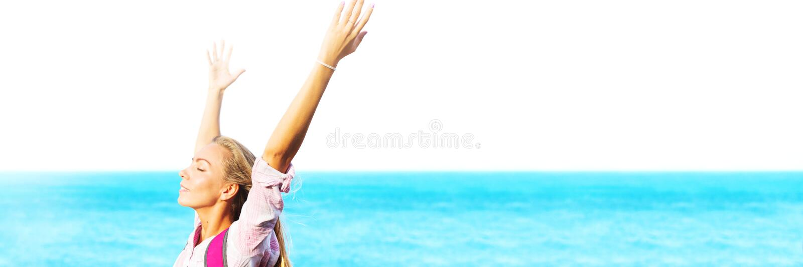 Portrait smiling happy girl hands up landscape royalty free stock photos