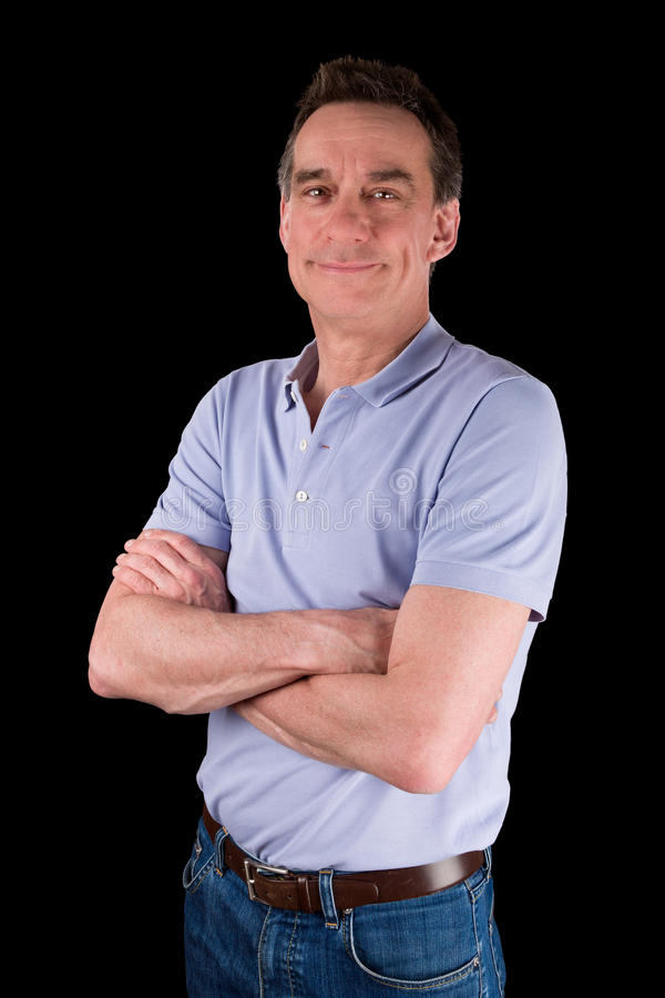 Portrait of Smiling Happy Man Arms Folded. Portrait of Smiling Happy Middle Age Man Arms Folded Black Background royalty free stock photos