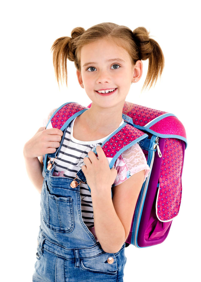 Portrait of smiling happy school girl child with school bag isolated stock photography