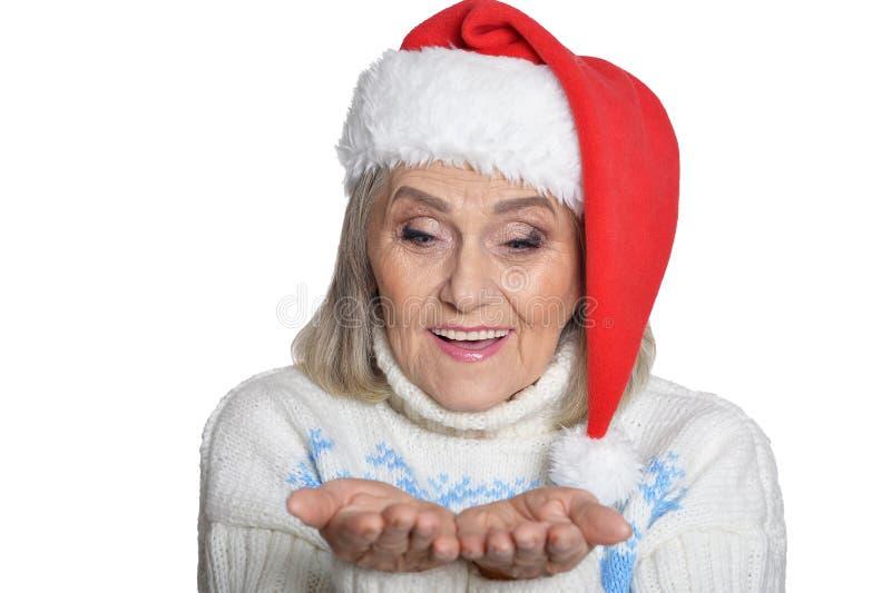 Portrait of a smiling happy senior woman royalty free stock photos